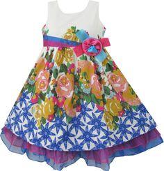 Girls Dress Blue Flower Print Detailed Trim Kids Clothing Size Years New Girls Blue Dress, Little Girl Dresses, Blue Dresses, Girls Dresses, Flower Girl Dresses, Summer Dresses, Wedding Dresses For Girls, Wedding Bridesmaid Dresses, Kids Fashion