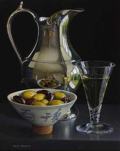 Still Life with Silver Wine Jug and Olives in Qing bowl.  Jessica Brown.  Quantum Contemporary Art Gallery.