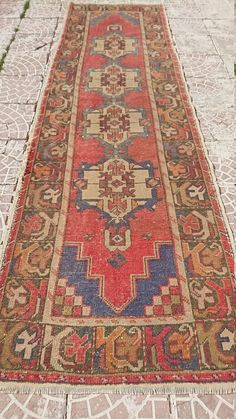 Vintage Turkish  Oushak  Runners  Rug 115x35 by salaberna on Etsy