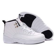 New Air Jordan 12 (XII) Retro All White Black ❤ liked on Polyvore featuring shoes and jordans
