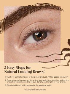 Steps for natural looking brows Eyebrow Growth Serum, How To Grow Eyelashes, When You Were Young, Rosacea, Chemistry, Eyebrows, Natural, Eye Brows, Brow Growth Serum