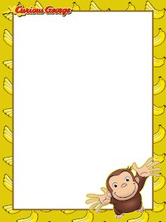 Curious George Party, Curious George Birthday, Curious George Coloring Pages, Third Birthday, Birthday Ideas, Preschool Lesson Plans, Free Sign, Writing Paper, Paper Dolls