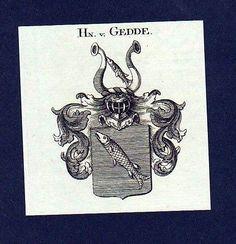 1780 - Herren von Gedde Original Kupferstich Wappen engraving Heraldik crest