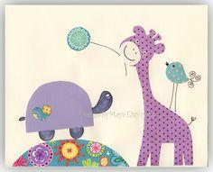 Kids Room Decor, Nursery wall Art print, baby turtle ..No one else will ever know...lilac, purple, lavender. $17.00, via Etsy.
