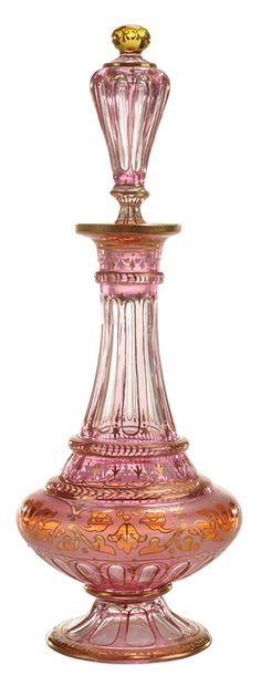 Year: 1850 - 1900 Perfume Bottle; Lobmeyr Glass, Exotic Persian Style, Pink Cut to Crystal, Enameled & Gilt, Cut Stopper, 9 inch.
