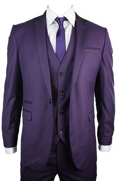 Mens Slim Fit Purple 3 Piece Suit Black Trim Work Occasional or Wedding Party Prom