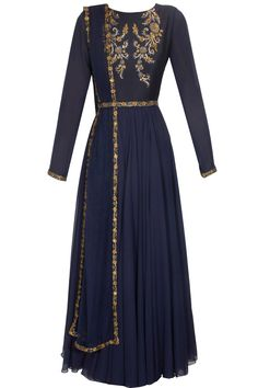 Cobalt blue anarkali suit with belt available only at Pernia's Pop Up Shop.