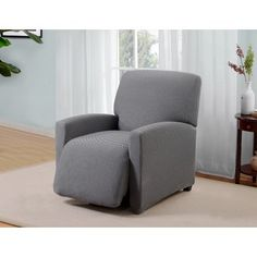 Red Barrel Studio Box Cushion Recliner Slipcover Upholstery: Gray