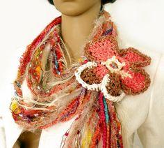 Handmade #Fashion Trends!  Infinity #scarf, Hippie gypsy scarf, Boho scarf, Wearable art, Mix yarn scarf, Fiber art scarf, Scarf necklace, Fringe tassel scarf   Long infinity scarf / lariat is made us... #sellertools #accessories #knit #crochet #felt #fashion #accessories #long #rusteam