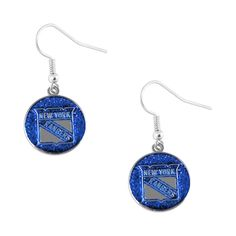 Show your team spirit all day long. NHL logo dangle earrings .625 inch charms. Official product of NHL. Size: .625 inch Charm Great for any sports fan Official product of NHL NHL Team: New York Ranger