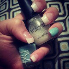 Mint sparkle white tip nails