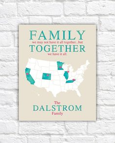 Family Quote Map, Unique Idea for Parents, Mom and Dad, Siblings - Personalized Surname Family Gift, Long Distance, Aunt, Uncle, Together
