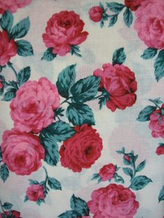 Vintage Fabric Cotton Pink and Red Roses by AletaFordBakerDesign, $15.00