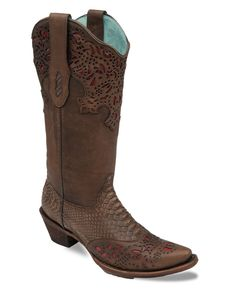 Corral Women's Brown Python Fango/Coral Collar and Wing Tip Boot - C2683..This actually comes in my size!