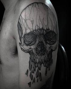 """Skull  #art #artwork #blackworkers #blxckink #blackworkerssubmission #equilattera #electricink #skulltattoo #instainspiredtattoos #inkstinct_tattoo_app…"""