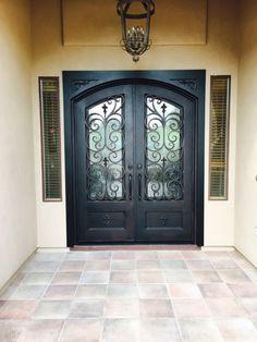 Custom entry iron doors for Sale in Glendale, AZ - OfferUp Entry Doors For Sale, Front Door Entryway, Glass Front Door, Glass Door, Front Entry, Front Porch, Brown Front Doors, Double Front Doors, Custom Exterior Doors