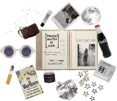 """The contents of her handbag"" by emotional-retard ❤ liked on Polyvore"