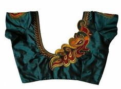 30 Latest Patch Work Saree Blouse Designs Patch work blouse designs are very attractive looking because of the work that they have. Patch work designs usually have layers of fabrics used to form different patterns and designs. Peacock Blouse Designs, Peacock Embroidery Designs, Cutwork Blouse Designs, Simple Embroidery Designs, Blouse Neck Designs, Neckline Designs, Blouse Patterns, Dress Designs, Patch Work Blouse Designs