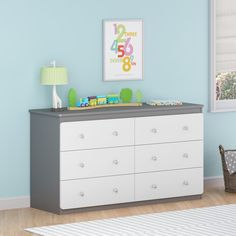 Proper organization is the key to keeping a room organized and tidy. That is why the Willow Lake 6-drawer Dresser by Cosco is a necessary addition to your child's room or nursery. Made in USA of U.S. and imported parts.