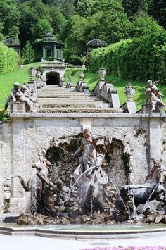 This is the view from the royal bed chambers at Linderhof Castle.  This fountain is fed directly by natural alpine springs and supplies all the water in and around the surrounding castle grounds. 2011