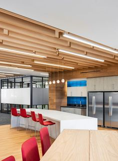 ResMed's San Diego offices feature stunning, real-wood acoustic solutions by SoundPly. Acoustic Baffles, Acoustic Panels, Real Wood, Plank, Offices, San Diego, Interior Design, Gallery, Table