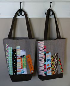 "These ""book bags"" were inspired by Elizabeth's mini bookshelf quilt and Amy's library pillow -- I liked their projects so much, and thought..."