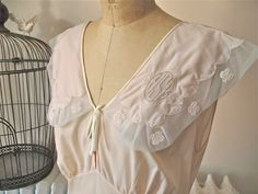 Cor-Ann | Vintage 1930s Bias Nightgown in Pale Pink Rayon with Wide Mesh Collar…