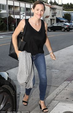 Ladies night: Jennifer Garner ate out with some friends in Los Angeles on Wednesday...