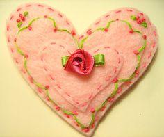 Embroidered Felt Heart Brooch