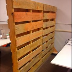 Our Awesome new office partitions made with pallets...