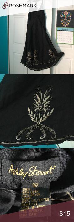 Black linen sundress Beautiful black sundress with tan embroidery at bottom. Ashley Stewart Dresses Backless