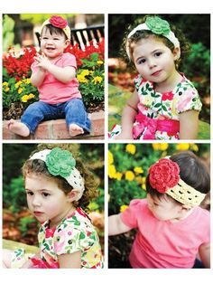 Vinchas con flores tejidas Corsage, Crochet Hats, Diy Crafts, Babys, Accessories, Bijoux, Crochet Leaves, Accessories For Girls, Head Bands