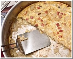 Potato, Ham and Onion Frittata Ingredients 2 tablespoons olive oil, divided 2 tablespoons butter, divided 2 slices cooked ham, about 1/4-inch thick, diced 1 medium sweet onion, diced 3 medium-sized Russet potatoes, peeled and cut into approximately 1/8-inch slices and quartered 12 eggs, lightly beaten 2 tablespoons heavy cream 1/4 cup Parmesan cheese 1/4 teaspoon smoked paprika Salt and pepper to taste Directions Preheat oven to 400 F. Heat 1 tablespoon each of the oil and butter in your larg...