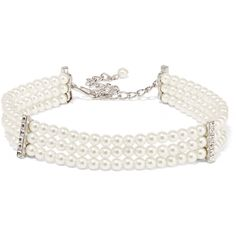 Kenneth Jay Lane Silver-plated, faux pearl and crystal choker ($105) ❤ liked on Polyvore featuring jewelry, necklaces, choker, accessories, white, party necklaces, silver plated necklace, crystal necklace, faux pearl choker necklace and simulated pearl necklace