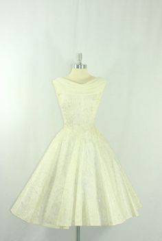 1950's White Wedding Dress  Darling Knee length White and silver lace bridal frock -  by VintageFrocksOfFancy