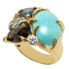Michael Valitutti 14K Gold Multi-Gemstone ring, Prong-set Turquoise, London Blue Topaz, Swiss Blue Topaz, and Smoky Quartz, Bezel-set Tanzanite and Zircon