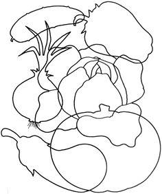 Раскрась только те овощи, в названии которых три слога.