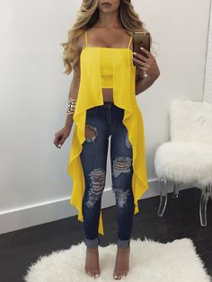 Blue Patchwork Condole Belt Ribbons Boat Neck Fashion T-Shirt Club Outfits, Girl Outfits, Casual Outfits, Summer Outfits, Trend Fashion, Womens Fashion, Vetement Fashion, Mode Chic, Crop Blouse