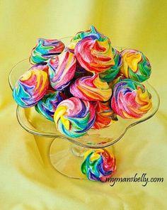 Rainbow swirl meringue cookies