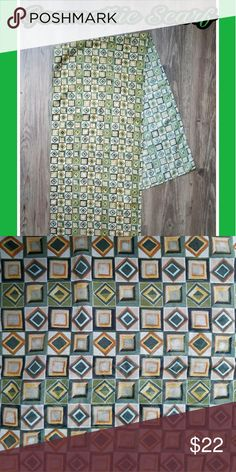 SCARF W/GEOMETRICAL SHAPES 14 INCHES BY 62 INCHES 🆕🆕BRAND NEW LISTING🆕🆕 💯💯SCARF/WRAP💯💯  ✔SHEER ✔GEOMETRIC SHAPES ✔COLORS INCLUDE GREEN, BROWN, ORANGE, WHITE, BEIGE & YELLOW.  ✔14 INCHES WIDE & 62 INCHES LONG.  ✔MADE IN ITALY. ✔100% POLYESTER   💯💯💯MINT CONDITION 💯💯💯 scarf/wrap Accessories Scarves & Wraps