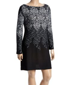 Another great find on #zulily! Black & White Paisley Shift Dress - Plus #zulilyfinds