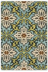 Temple Garland Rug in Blue by Amy Butler for Chandra in Various Sizes