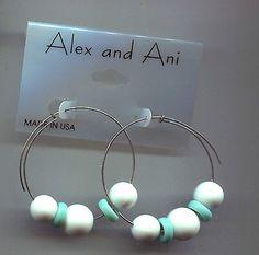 ALEX & ANI ENDLESS  TURQUOISE WHITE EARRINGS - http://designerjewelrygalleria.com/alex-ani/alex-ani-endless-turquoise-white-earrings/