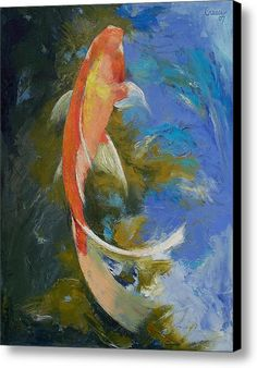 Butterfly Koi Painting Canvas Print / Canvas Art By Michael Creese