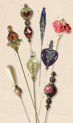 Hatpins:  My mom was an antique dealer, and I remember her always having a hand painted china, hatpin holder, full of lovely pins in her shop.