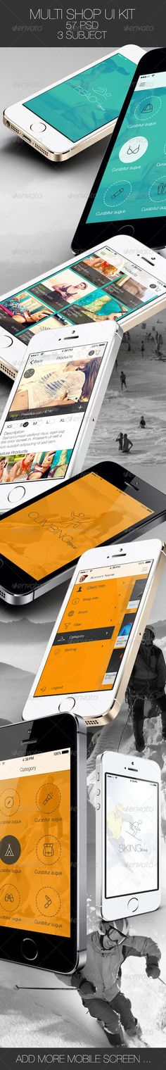 Multi Shop App for Mobile #GraphicRiver + 3 Subject Beach Climbing Skiing + 57 psd file included. + 1 Subject included 19 Mobile Screen: 01_Splash Screen 02_Login 03_Registration 04_Chose Sex 05_Feature Product 06_Category 07_Product 08_Product Detail 09_Zoom Image Prodcut 10_Add_Product – Box 11_Cart 12_Shipping address 13_Payment 14_Payment Method Form 15_SlideBars 16_SlideBars – Client Info 17_SlideBars – Shop Info 18_SlideBars – Share 19_Filter 1350 Stroke Icon used Created: 24November13…