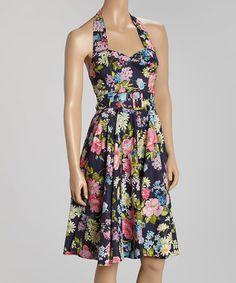 Another great find on #zulily! Navy & Pink Garden Belted Halter Dress #zulilyfinds
