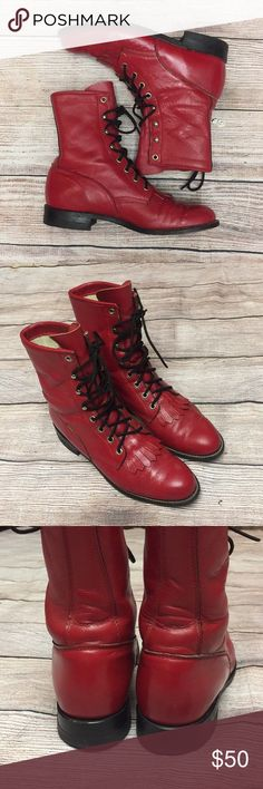 Justin Red Roper Boots. Size 7 1/2B Vintage Red Justin Roper Western Boots. Made in USA. Lace up. Great condition with some creasing but a lot of life left. See photos. Size 7 1/2B Justin Shoes Lace Up Boots