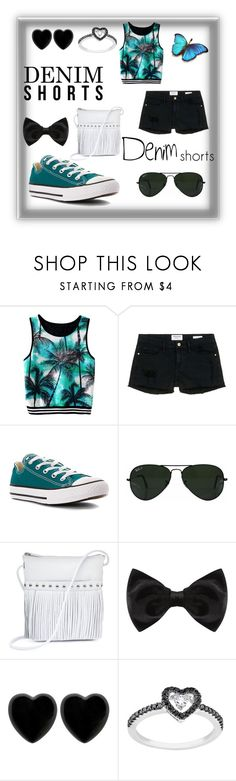 """""""Denim Shorts"""" by adoremyeverything ❤ liked on Polyvore featuring Frame Denim, Converse, Ray-Ban, ILI, New Look, Dollydagger, jeanshorts, denimshorts and cutoffs"""