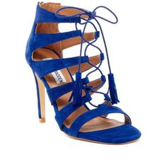Steve Madden Faraah Laced Pump ($80) ❤ liked on Polyvore featuring shoes, pumps, blu suede, suede pumps, steve madden pumps, open toe shoes, lace up pumps and suede shoes